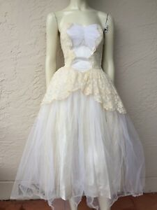 ce6cd375bd 50 s LACE TULLE TIERED STRAPLESS WEDDING PROM PARTY DRESS SZ 4