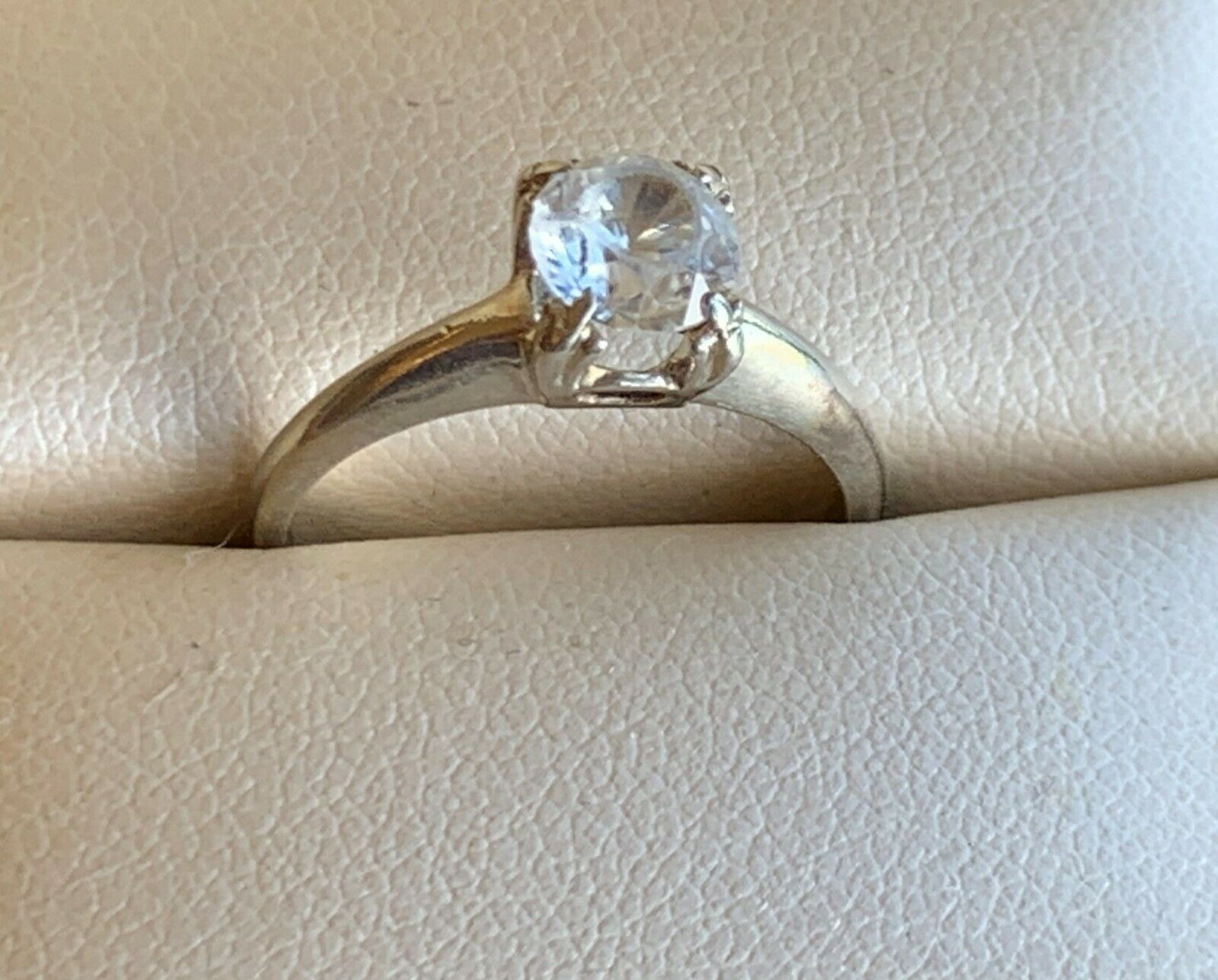 14 kt - Solitaire Ring - white gold - image 1