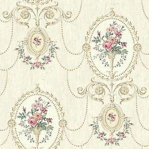 Image Is Loading Dollhouse Miniature Shabby Chic Wallpaper Pink And Tan