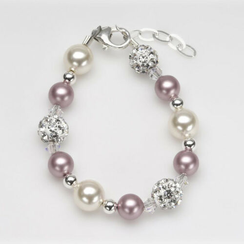 Baby and Child Bracelet with Rose and Ivory Pearls and White Pavé Beads