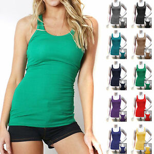 COTTON-RIBBED-RACERBACK-TANK-TOP-Womens-Fitness-Sport-Yoga-Stretch-Long-Zenana