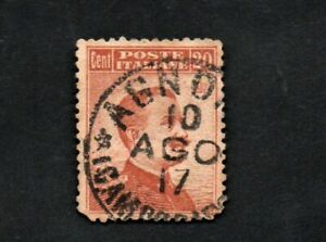 FRANCOBOLLO-REGNO-ITALIA-MICHETTI-A-DESTRA-1916-C-20-SENZA-FILIGRANA-DENT-13