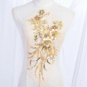 Diamante 3D Flower Appliqué Sequined Embroidery lace Patch for Latin Dress