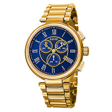 New Men's August Steiner AS8148YGBU Swiss Chronograph Blue Dial Gold-tone Watch