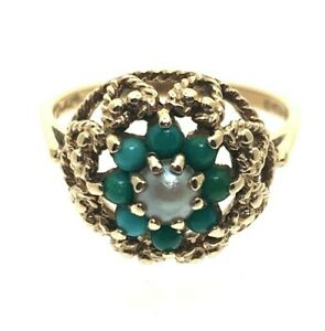 Vintage-Pearl-amp-Turquoise-9-ct-Yellow-Gold-Flower-Cluster-Ring-size-O-1970-3-03g
