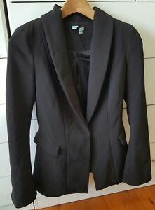 KOOKAI-Black-Fitted-Tailored-Lined-Jacket-Size-34