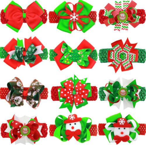LK/_ Christmas Baby Toddler Santa Claus Bowknot Hair Clip Headband Headwear Re