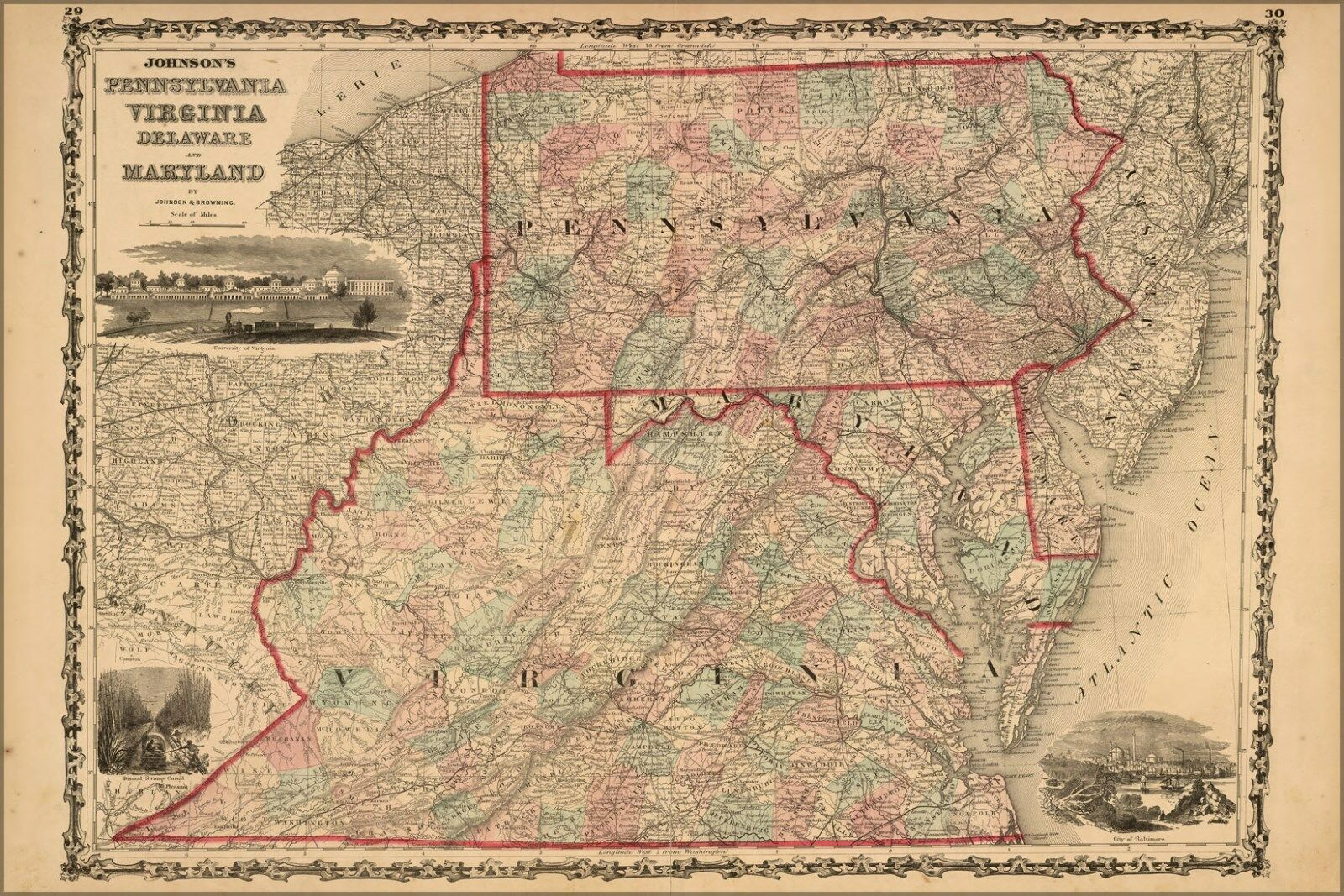 Poster, Many Größes; Map Pennsylvania Virginia Delaware Maryland 1862