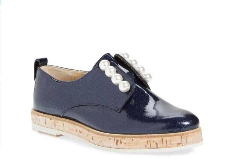servizio premuroso NEW  AGL blu Patent Leather Pearl Pearl Pearl Slip-On Oxford Platform Loafer 34.5  vendita con alto sconto