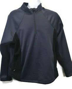 CHAMPION Mens Athletic Pullover Jacket 1/4 Zip Black Gray ...