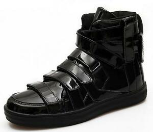 Cool-Men-039-s-Fashion-Punk-Patent-Leather-Solid-Casual-Shoes-High-Top-Ankle-Boots