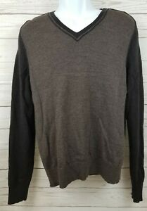 Banana Republic Mens Sz Medium 100%  Extra Fine Merino Wool V-neck Sweater Brown