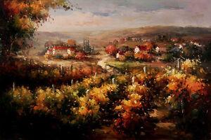 Tuscan-Wine-Vineyard-Original-Handmade-Oil-Painting-on-Canvas-Art-36-034-x-24-034