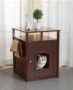 Image Is Loading Cat Litter Box Cover Nightstand Table Modern Small