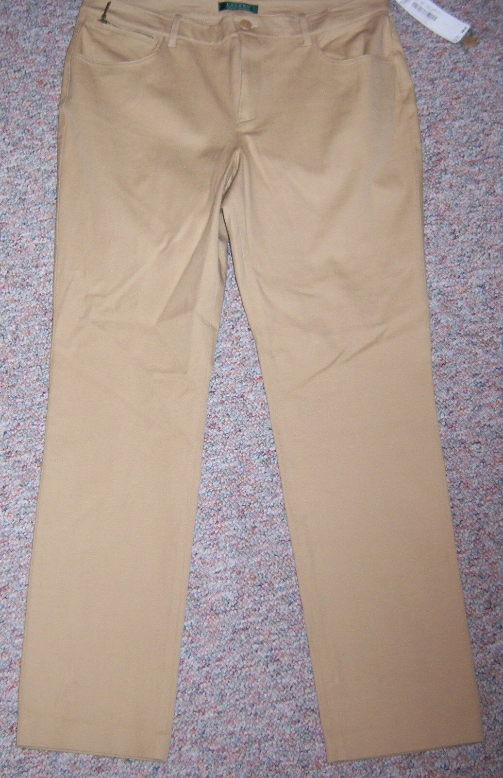 RALPH LAUREN Tan color Slimming Fit Flat Front Pants Size 14 Inseam 31.5 NWT