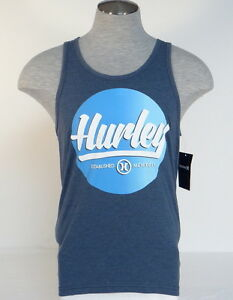 5977dc467b1744 Image is loading Hurley-Signature-Premium-Fit-Heather-Navy-Blue-Tank-