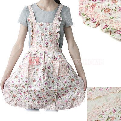 Women's Flower Pattern Print Lace Home Kitchen Bib Apron Dress With Pockets
