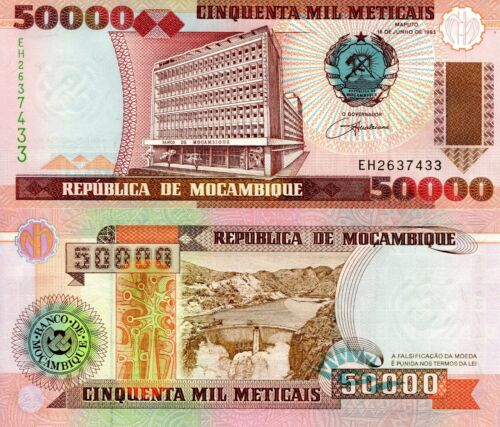MOZAMBIQUE 50000 Meticais Banknote World Paper Money UNC Currency PIck p138 1994