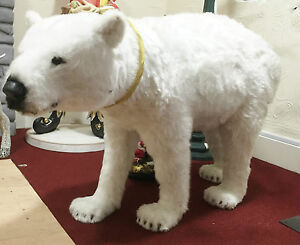 image is loading large furry polar bear christmas decoration figure lifesize