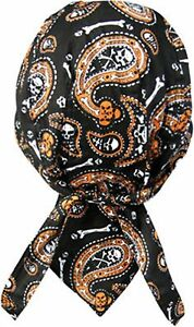 Skull Paisley Orange Bandana Biker Do Doo Du rag Head wrap Skull cap Capsmith