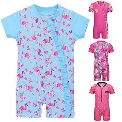 Careful Kid Girls Baby Flamingo One-piece Full Body Swimsuit Uv50+ Swimwear Bathing Suit