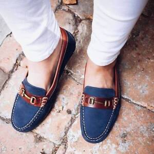 8e95d608547 Image is loading Orca-Bay-Verona-Ladies-Leather-Loafers-Navy-BNWT-