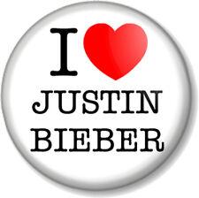 "I Love / Heart JUSTIN BIEBER 25mm 1"" Pin Button Badge Singer Pop Star Fan Fever"