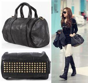 New Punk Bottom Studded PU Leather Shoulder Bag Tote Handbag with Strap Black