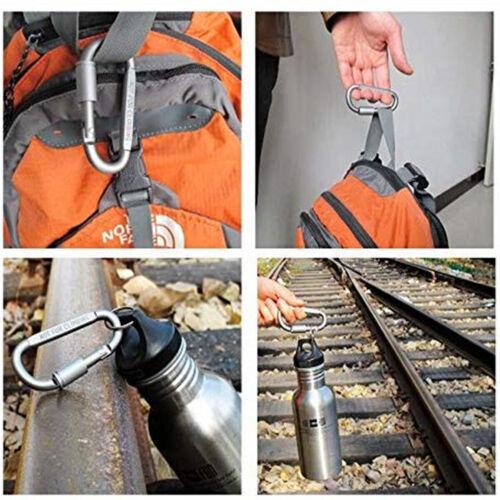 6 x 82mm Aluminum Carabiner D-Ring Keychain Clip Snap Hook Screw Locking Camping