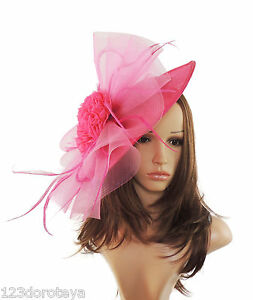 Image is loading Large-Fuchsia-amp-Hot-Pink-Fascinator-Hat-for- b47b1d3ad29