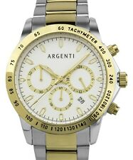 Pre-owned Argenti AGT-15173-C Men's Carmichael Two-Tone Band Chronograph Watch
