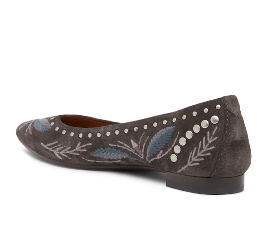 New in Box Box Box FRYE femmes Sienna Embroidery Ballet Flats gris Soft Oiled Suede 8 f6e409