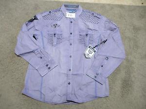NEW-Roar-Button-Up-Shirt-Adult-Large-Purple-Black-Club-Wear-Long-Sleeve-Mens-S1
