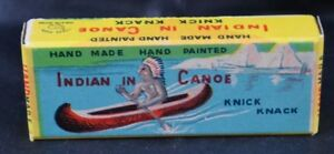 RARE Old Vtg KNICK KNACK Wood Hand Made Painted Indian In Canoe Toy Japan In Box