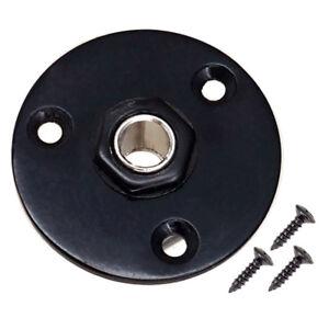 Round-Plate-Guitar-Socket-Output-Jack-1-4-034-6-35mm-for-Electric-Guitar-Black