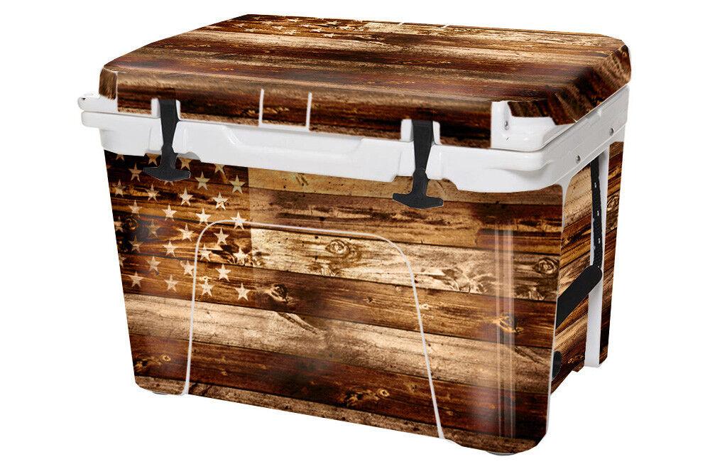 USATuff Custom Cooler fits Decal Wrap fits Cooler YETI Tundra 75qt FULL USA Flag WD c100e2