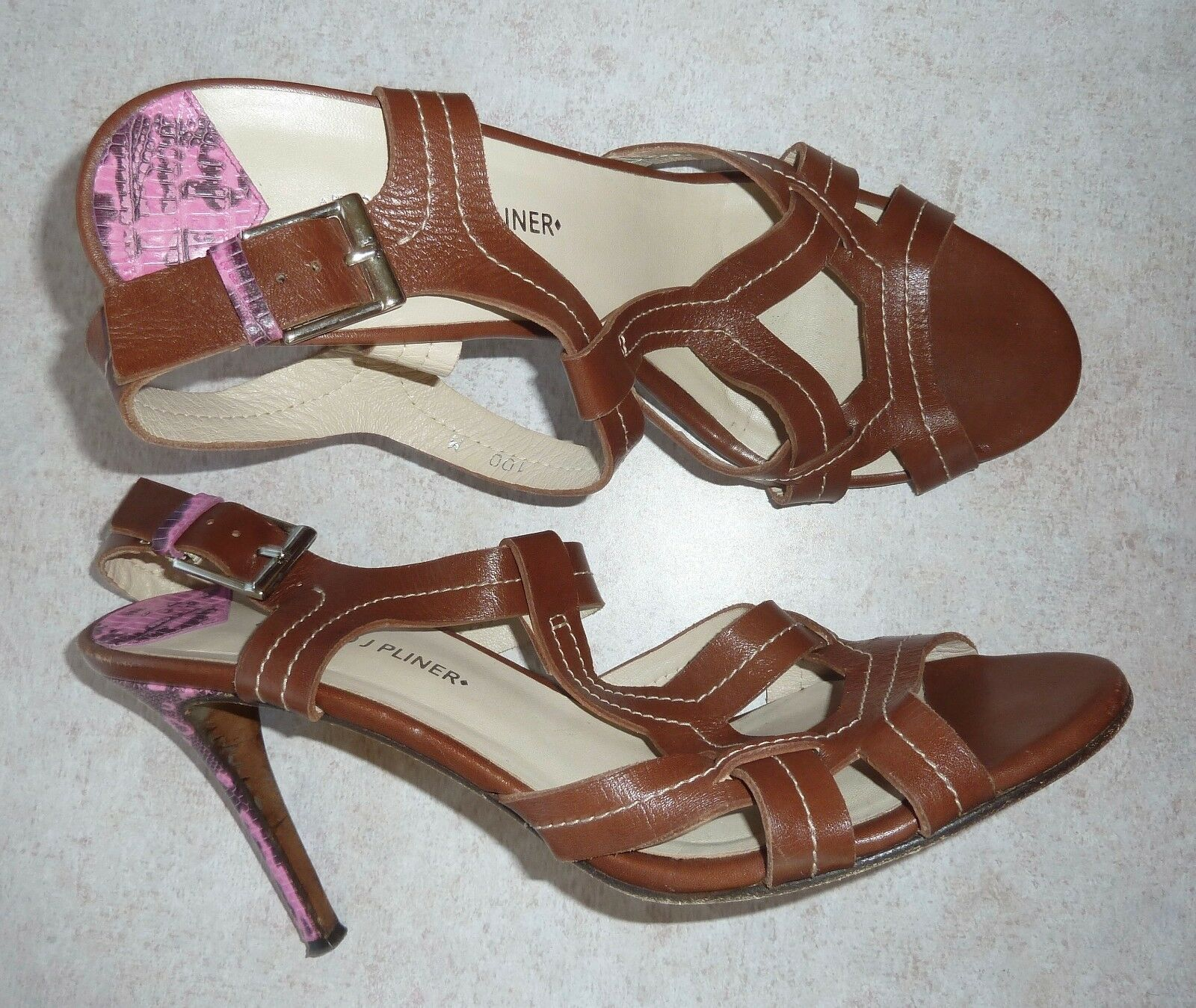 DONALD PLINER - BROWN T-STRAP SANDALS - w/PINK REPTILE STILETTO HEELS - SANDALS LADIES 10M 900d19