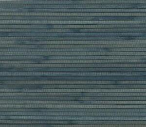 Wallpaper-Real-Natural-Grasscloth-Textured-Sisal-Wide-Chunky-Bamboo-Blue-on-Navy