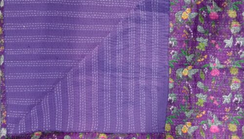 Indian purple paradise kantha handmade cotton quilt blanket twin bedspread
