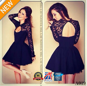WOMEN-LADIES-PLEATED-SKIRT-LONG-SLEEVE-LACE-TOP-LOW-NECK-MINI-SKATER-DRESS-A019