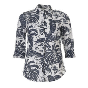 WEEKEND-MAX-MARA-Shirt-Blue-Palm-Size-40-UK-8-BG-235