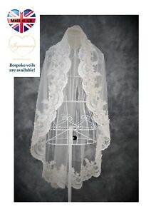 Bridal Veil *1 tier Chapel Length*Bespoke*Ivory/&Off white*Wide corded Lace H*
