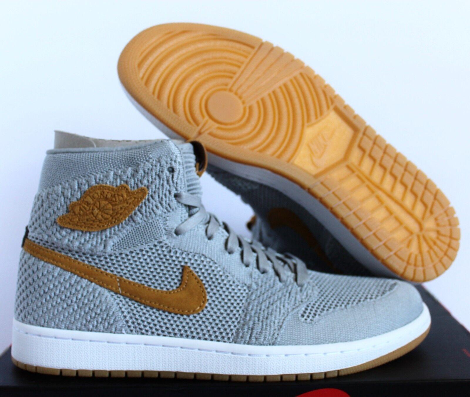 Nike air jordan 1 'ciao flyknit lupo grey-golden raccolto sz 10 [919704-025]