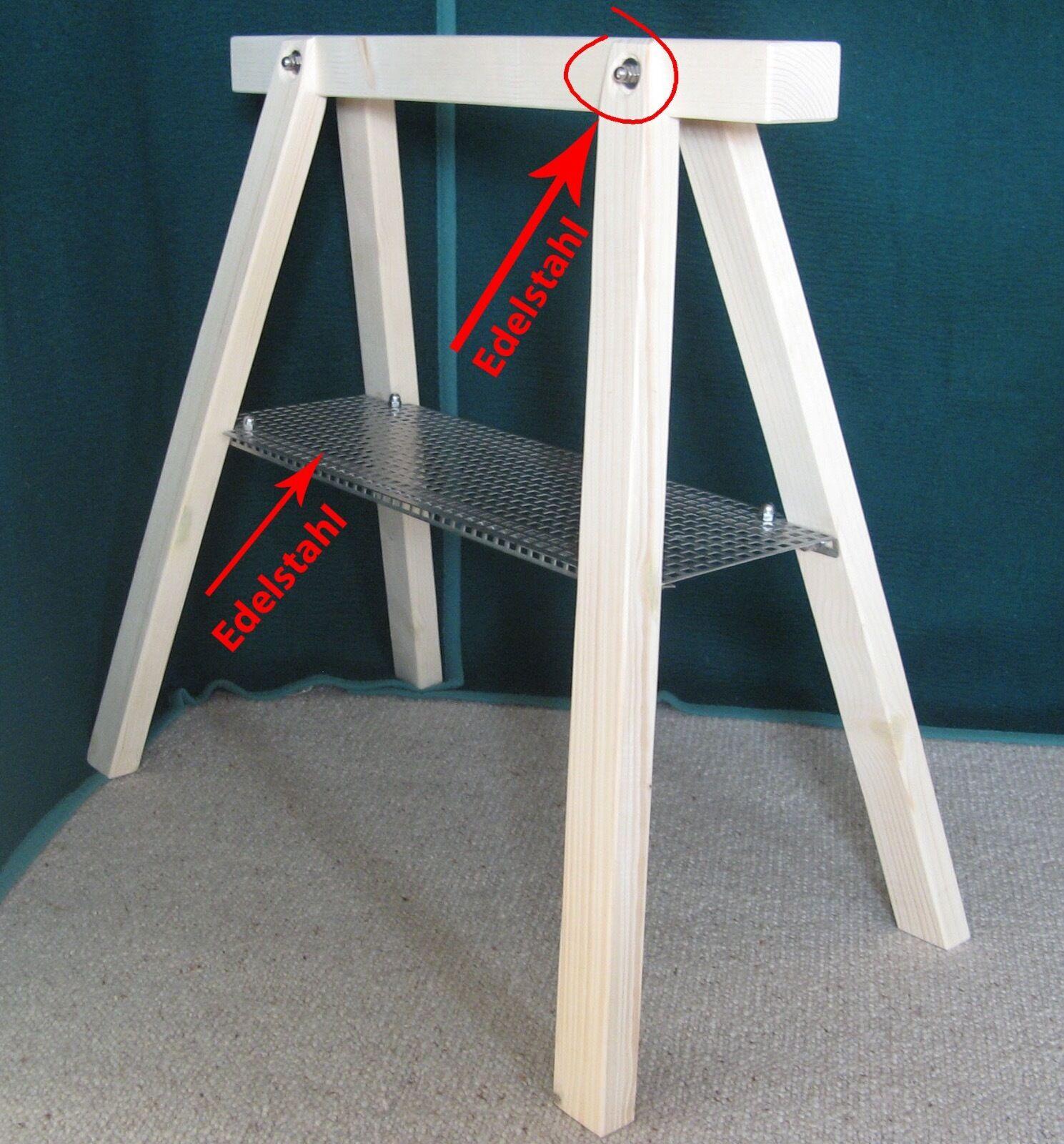 2 Stützböcke mit Edelstahlablage Schreibtisch Werkbank Arbeitsbock