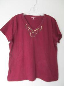 Croft-amp-Barrow-Women-039-s-Size-XL-100-Cotton-Short-Sleeve-V-Neck-Blouse-Shirt-Top