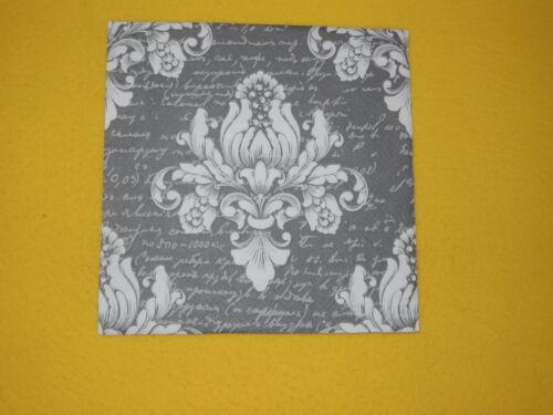 20 Serviettes Anthracite Blanc Barok motif d/'ornement POLICE 1 boîte neuf dans sa boîte Gris