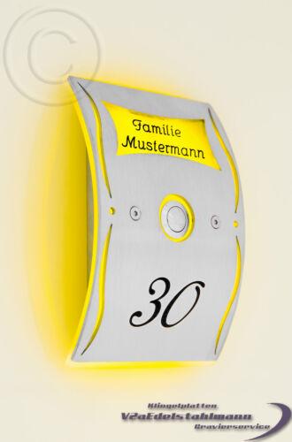 virent sonnette sonnette LED Acier inoxydable vert gravure possible. sonnerie plaque