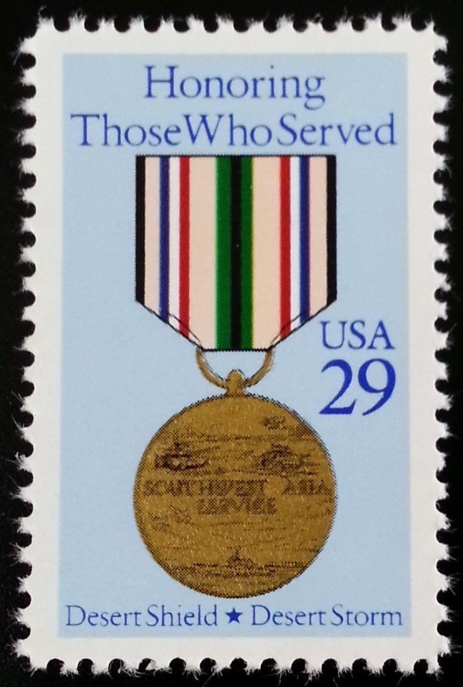 1991 29c Desert Shield/Desert Storm, Asia Service Medal