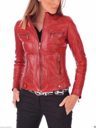 Rossa Di In Slim Biker Agnello Vera Moto Da Pelle Donna AgC7q