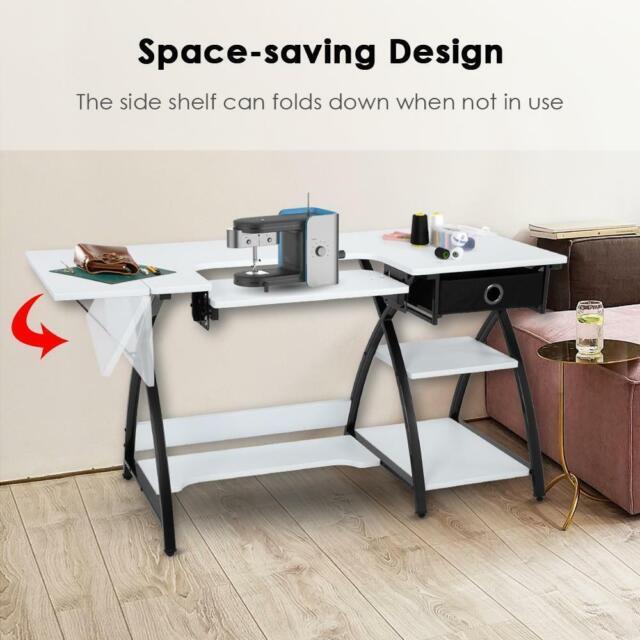Counter Height Craft Table Adjustable Shelves Storage Crafting Desk White For Sale Online Ebay